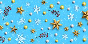 Обои Рождество Рябина Снежинка Звездочки Шар