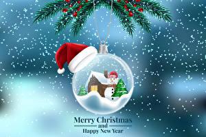 Фотографии Рождество Векторная графика Английская На ветке Шар Шапки Снег Дизайна