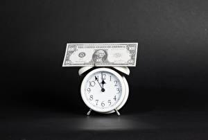 Картинка Часы Деньги Банкноты Доллары Будильник