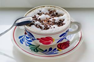 Картинки Кофе Капучино Шоколад Ложка Пеной Чашке Пища