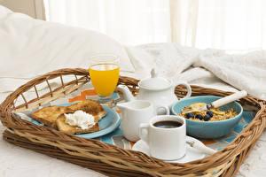 Картинка Кофе Сок Бутерброды Мюсли Завтрак Чашка Стакан Пища