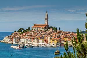 Фотографии Хорватия Пирсы Здания Море Rovinj город