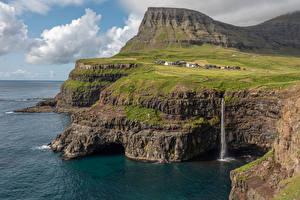 Обои для рабочего стола Дания Берег Водопады Утес Заливы Faroe Islands Природа