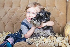 Обои Собака Шнауцер Девочка Смотрит Обнимаются ребёнок Животные