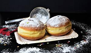 Фотографии Пончики Сахарная пудра Выпечка