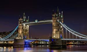 Обои Англия Мосты Река Лондон В ночи Thames, Tower bridge город