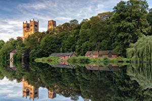 Фото Англия Речка Здания Дерево Отражается Durham city Природа