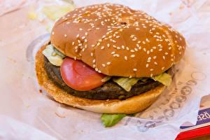 Картинка Быстрое питание Гамбургер Котлета Вблизи