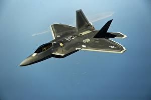 Фотография Истребители Самолеты Летит Американская Lockheed/Boeing F-22 Raptor Авиация