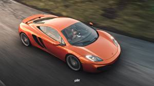 Обои Forza Horizon 4 Макларен Едущая Оранжевые MP4-12C F by Wallpy компьютерная игра Автомобили