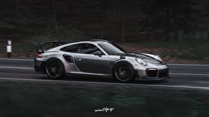Обои Forza Horizon 4 Porsche Сбоку Движение Серебряный 911 GT2 RS by Wallpy Игры Автомобили 3D_Графика