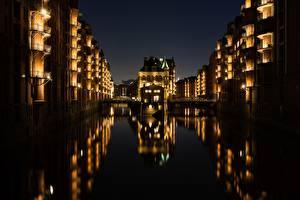 Фотографии Гамбург Германия Мосты Дома Ночь Водный канал