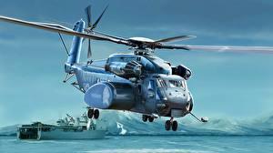Картинки Вертолет Рисованные Американский US Navy MH-53E Sea Dragon Авиация