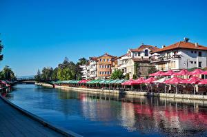 Фотографии Здания Речка Мосты Водный канал Struga Macedonia Города