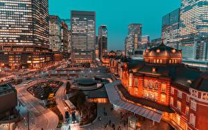 Картинки Япония Токио Вечер Здания Улица город