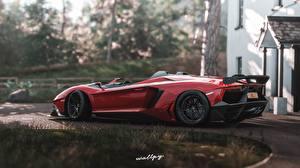 Фотографии Lamborghini Forza Horizon 4 Сбоку Красные 2018 Aventador J, by Wallpy Игры Автомобили