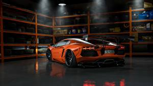 Картинка Lamborghini Стайлинг Оранжевые Сзади Aventador Liberty Walk LB Performance Игры Автомобили