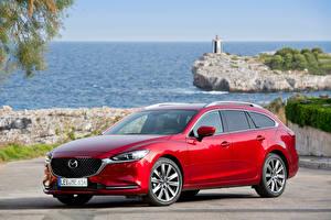 Картинки Mazda Красный Металлик 2018-19 Mazda6 Wagon Worldwide Автомобили