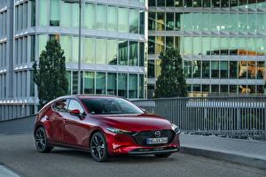 Обои Мазда Бордовая Металлик 2019 Mazda3 Skyactiv-X Hatchback Worldwide авто