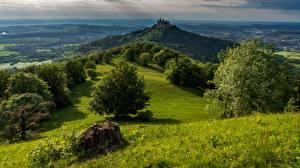 Обои для рабочего стола Гора Замок Германия Дерево Hohenzollern Castle, Bisingen Природа