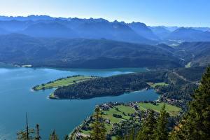 Картинки Гора Озеро Германия Бавария Сверху Walchensee Природа