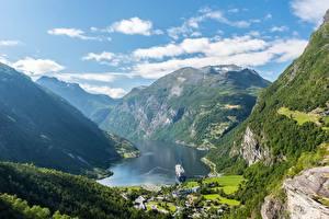 Картинки Гора Небо Норвегия Каньона Облачно Geiranger Природа
