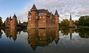 Картинки Нидерланды Замок Водный канал Castle De Haar