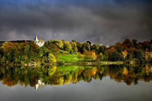 Картинка Норвегия Берген Осень Лес Заливы Gamlehaugen Природа