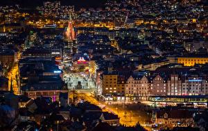 Картинки Норвегия Берген Здания Вечер Улице Ночь Сверху Города