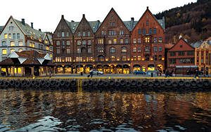 Фотографии Норвегия Берген Здания Реки Города