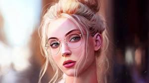 Обои Рисованные Лица Очках Блондинка Причёска Девушки