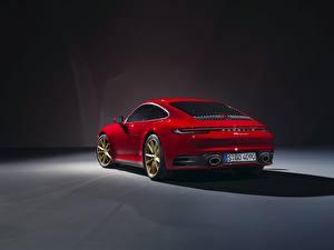 Картинки Porsche Вид сзади Красная 911 Carrera 2019 Автомобили