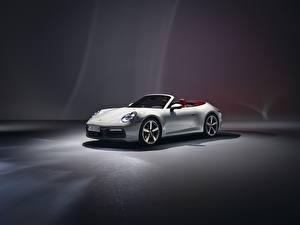 Картинки Porsche Кабриолета Белая 911 Carrera 2019 авто