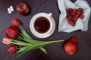 Картинки Малина Яблоки Груши Тюльпан Чай Сахара