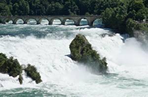Фотография Речка Водопады Мосты Швейцария Rhine Falls, Schaffhausen город