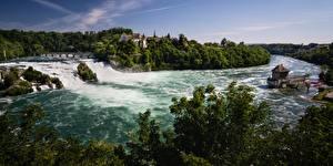Картинка Река Водопады Швейцария Schaffhausen, Rhein Falls Природа