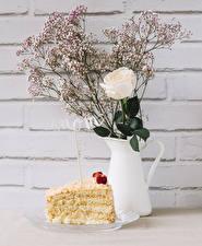 Фото Роза Торты Стенка Кувшины Инглийские Кусок mom цветок Еда