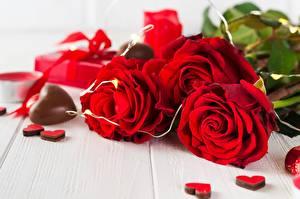 Картинки Роза Шоколад День святого Валентина Красный Сердце цветок
