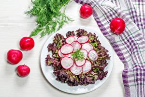 Фотография Салаты Овощи Редис Укроп Тарелке Пища