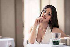 Фотографии Боке Позирует Вырез на платье Волос Смотрит Брюнетки Sara девушка