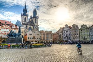 Картинки Скульптуры Памятники Чехия Прага HDRI Городская площадь Old town square город
