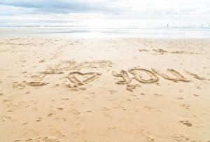 Обои Море Песка Пляже Инглийские Слово - Надпись I love you Природа