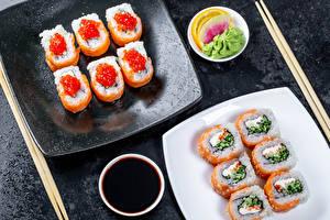 Фотография Морепродукты Суси Икра Палочки для еды Соевый соус