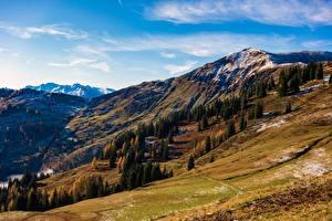 Картинки Небо Гора Австрия Осенние Дерево Hochkönig, Dienten Природа