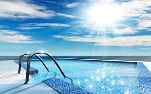 Обои Небо Плавательный бассейн Лучи света Облачно 3D Графика