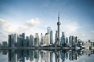 Фото Небоскребы Здания Китай Шанхай Башни Города