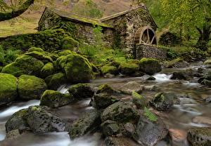 Фотографии Камни Англия Мха Водяная мельница Cumbria, Borrowdale Valley