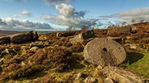 Фото Камни Небо Англия Руины Облака Peak District, Derbyshire Природа