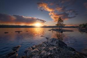 Картинки Рассвет и закат Озеро Норвегия Небо Ringerike