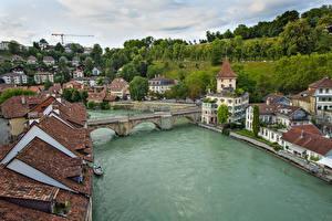 Фотографии Швейцария Берн Дома Река Мосты Краши Города
